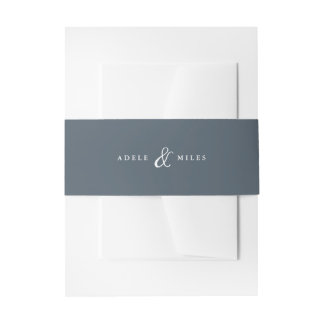 Blue Ampersand Personalized Wedding Invitation Belly Band