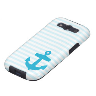 Blue Anchor and Light Blue Sailor Stripes Samsung Galaxy S3 Cases