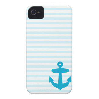 Blue Anchor and Light Blue Sailor Stripes iPhone 4 Case-Mate Case