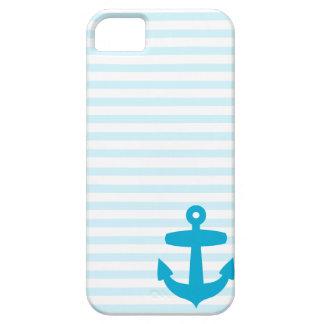 Blue Anchor and Light Blue Sailor Stripes iPhone SE/5/5s Case
