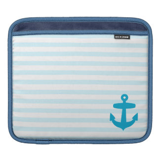 Blue Anchor and Light Blue Sailor Stripes Sleeve For iPads
