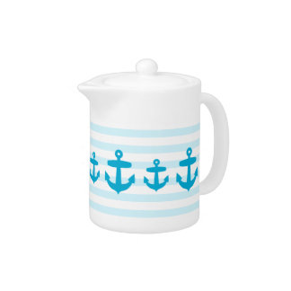 Blue Anchor and Light Blue Sailor Stripes Teapot