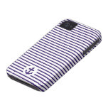Blue Anchor and Navy Blue Sailor Stripes iPhone 4 Case-Mate Cases