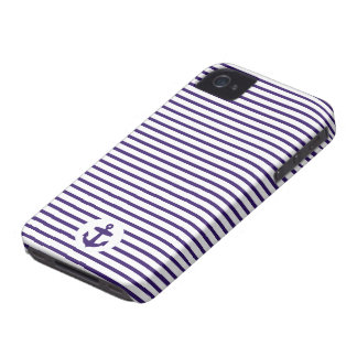 Blue Anchor and Navy Blue Sailor Stripes Case-Mate iPhone 4 Cases