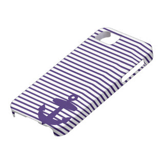 Blue Anchor and Navy Blue Sailor Stripes iPhone 5 Cases