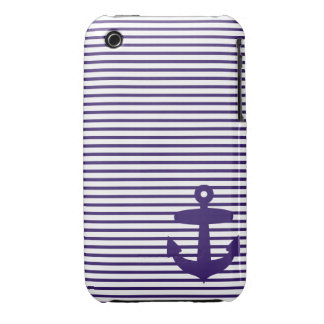 Blue Anchor and Navy Blue Sailor Stripes Case-Mate iPhone 3 Cases