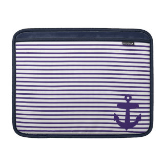 Blue Anchor and Navy Blue Sailor Stripes Sleeve For MacBook Air