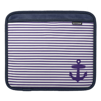Blue Anchor and Navy Blue Sailor Stripes iPad Sleeve
