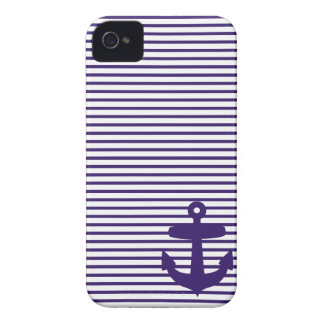 Blue Anchor and Navy Blue Sailor Stripes iPhone 4 Case