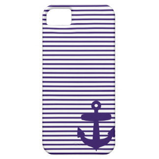 Blue Anchor and Navy Blue Sailor Stripes iPhone SE/5/5s Case