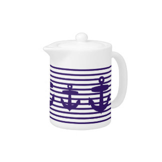 Blue Anchor and Navy Blue Sailor Stripes Teapot