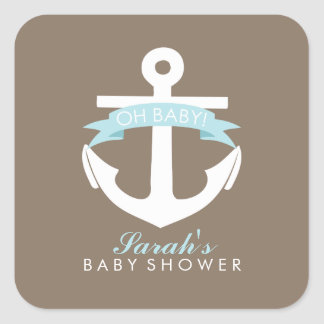 Blue Anchor and Ribbon Baby Shower Square Sticker