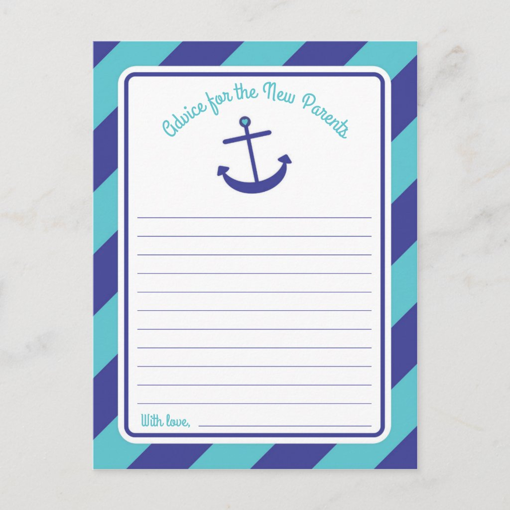 Blue Anchor Baby Shower Words of Advice