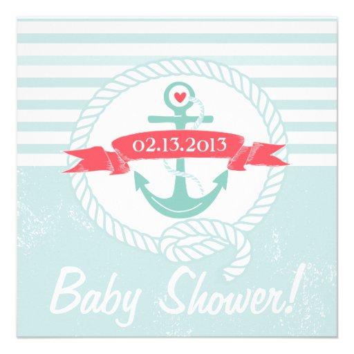 Blue Anchor Banner Nautical Baby Shower Invitation