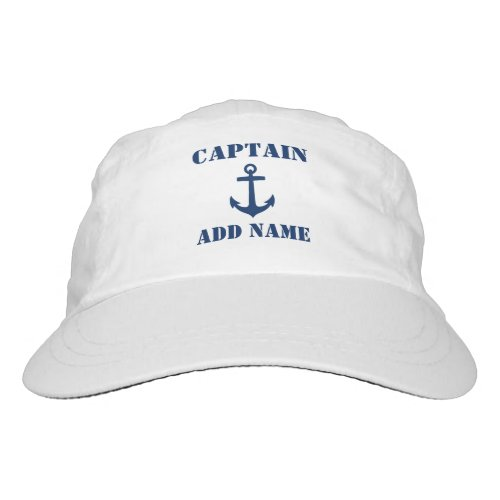 Blue Anchor Captain Add Name or Boat Name Hat