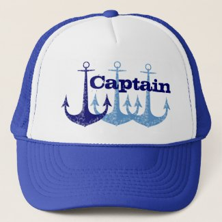 Blue anchor Captain, boy's personalized Trucker Hat