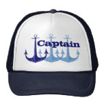 Blue anchor Captain, Dad personalized Trucker Hat