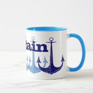 Blue anchor Captain Nautical personalized Mug