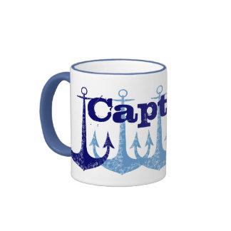 Blue anchor Captain Nautical personalized Ringer Coffee Mug