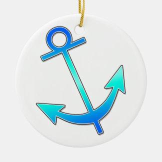 Blue Anchor Ceramic Ornament