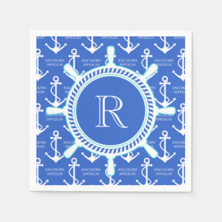 Blue Anchor Coastal Nautical Monogram Standard Cocktail Napkin