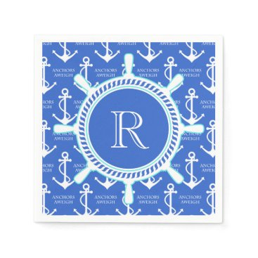 antiqueimages Blue Anchor Coastal Nautical Monogram Paper Napkin