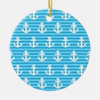 Blue Anchor Design Ceramic Ornament