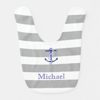 Blue Anchor Gray Stripe Personalized Baby Bib