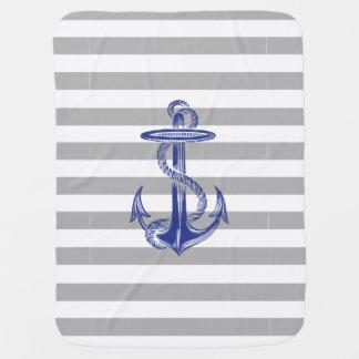 Blue Anchor Gray White Stripe Baby Blanket