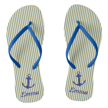Beach Themed Blue Anchor Green Stripes Specialized Tropical Flip Flops