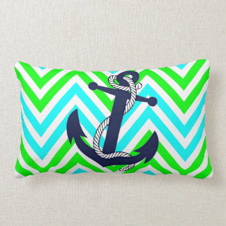 Blue Anchor Lime Green Turquoise Zigzag Pattern Pillows