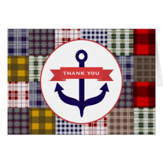 Blue Anchor Madras Inspired Plaid Thank You Card