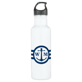 Blue Anchor Monogram Water Bottle