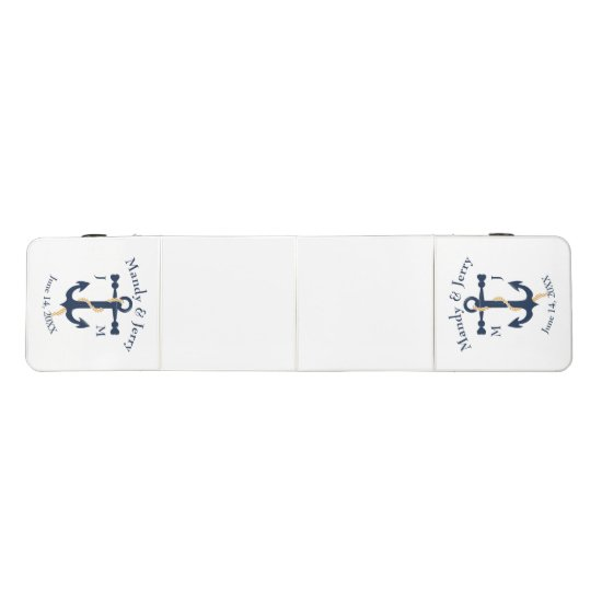 Blue anchor- monogram wedding beer pong table