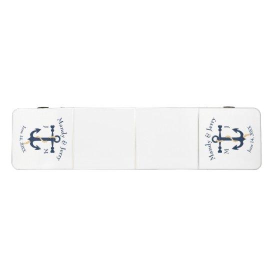 Blue anchor- monogram wedding beer pong table