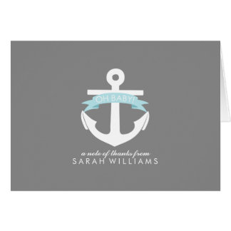 Blue Anchor Nautical Baby Shower Greeting Cards