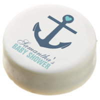 Blue Anchor Nautical Baby Shower Chocolate Dipped Oreo