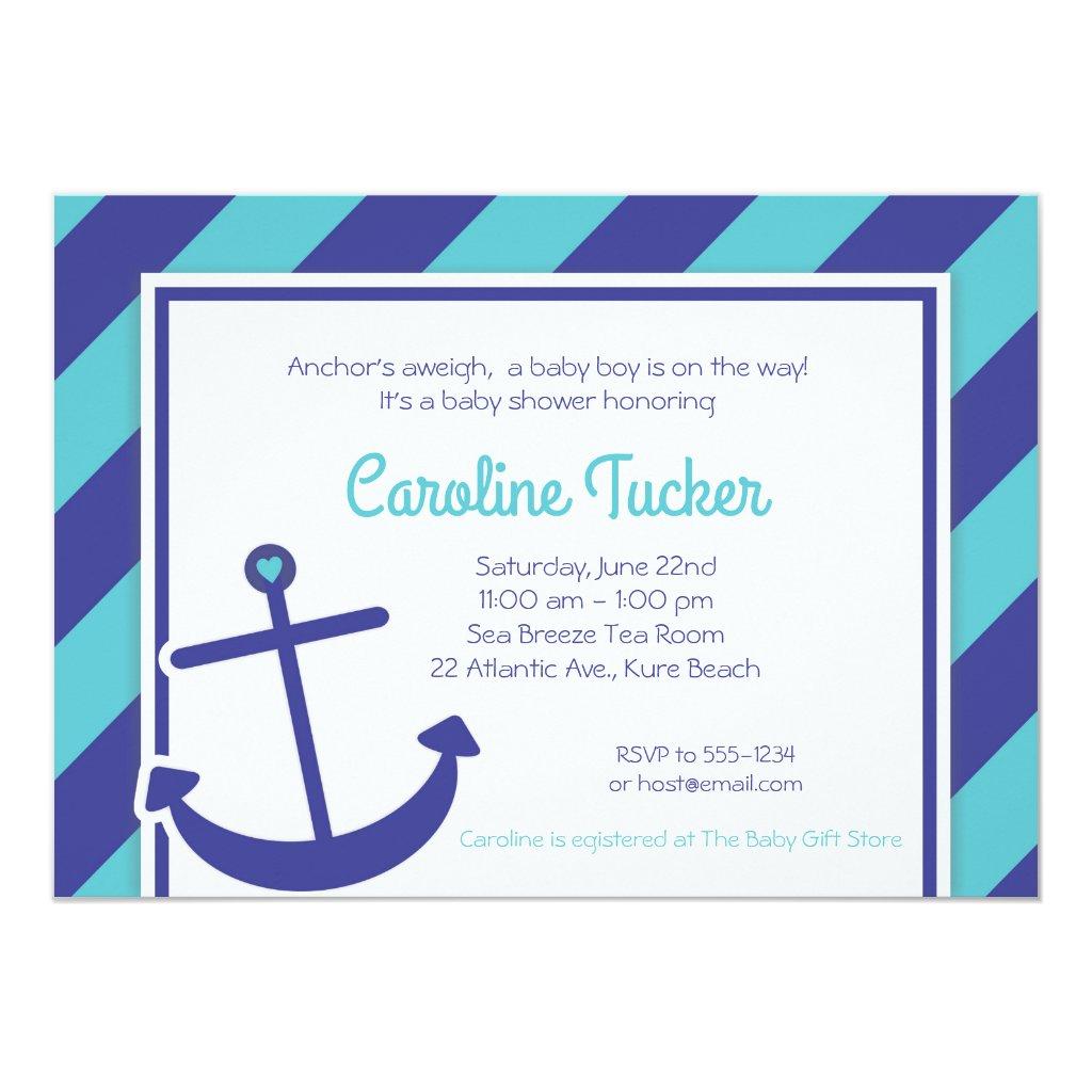 Blue Anchor Nautical Baby Shower Invitation