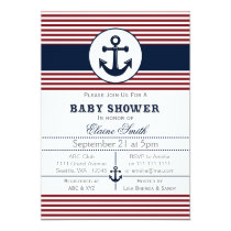 blue anchor nautical baby shower invitation