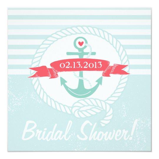 Blue Anchor Nautical Bridal Shower Invitation