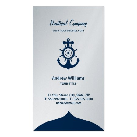 Blue Nautical Anchor Platinum Business Cards Template