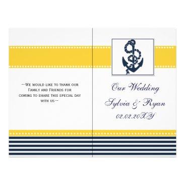 blue anchor nautical  folded Wedding program