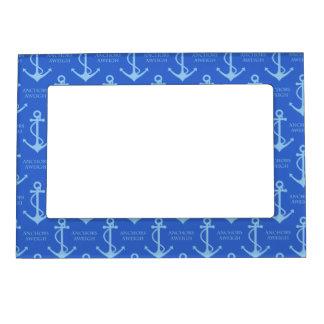 Blue Anchor Nautical or Coastal Pattern Magnetic Photo Frame