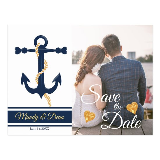 Blue anchor- nautical save the date postcard