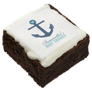 Blue Anchor Nautical Theme Square Brownie