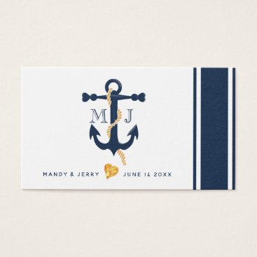 Professional Business Blue anchor-nautical wedding business card