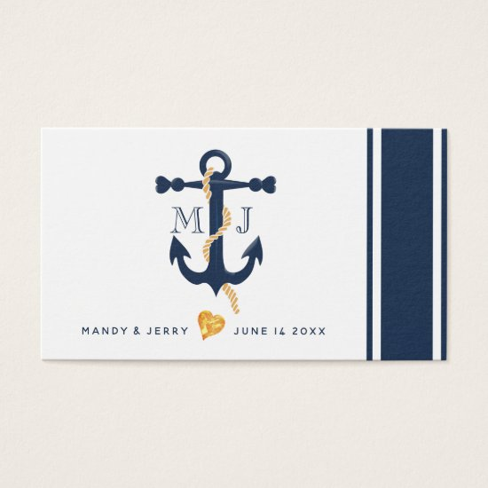 Blue anchor-nautical wedding business card