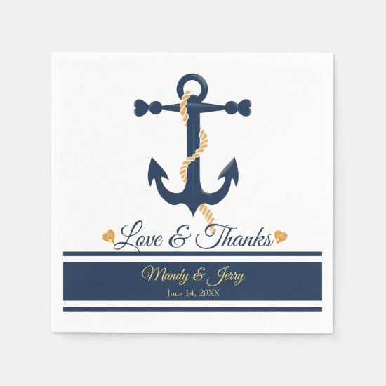 Blue anchor-nautical wedding cocktail napkins