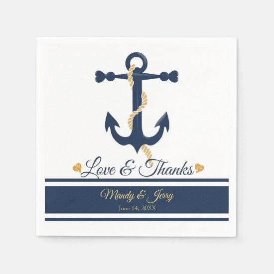 Blue anchor-nautical wedding cocktail napkins
