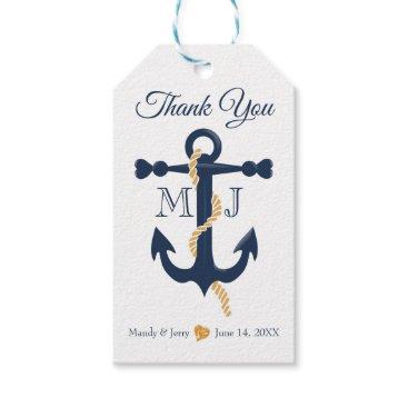 Beach Themed Blue anchor-nautical wedding gift tag